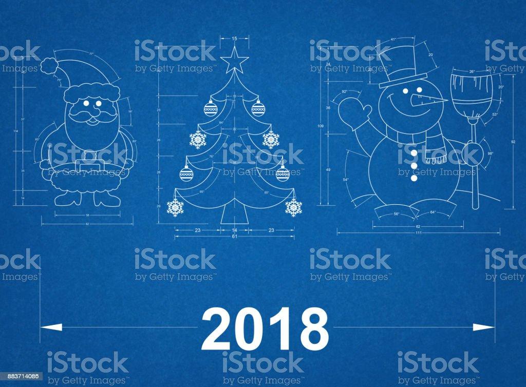 New year symbols blueprint stock vector art more images of 2018 new year symbols blueprint royalty free new year symbols blueprint stock vector art amp malvernweather Choice Image