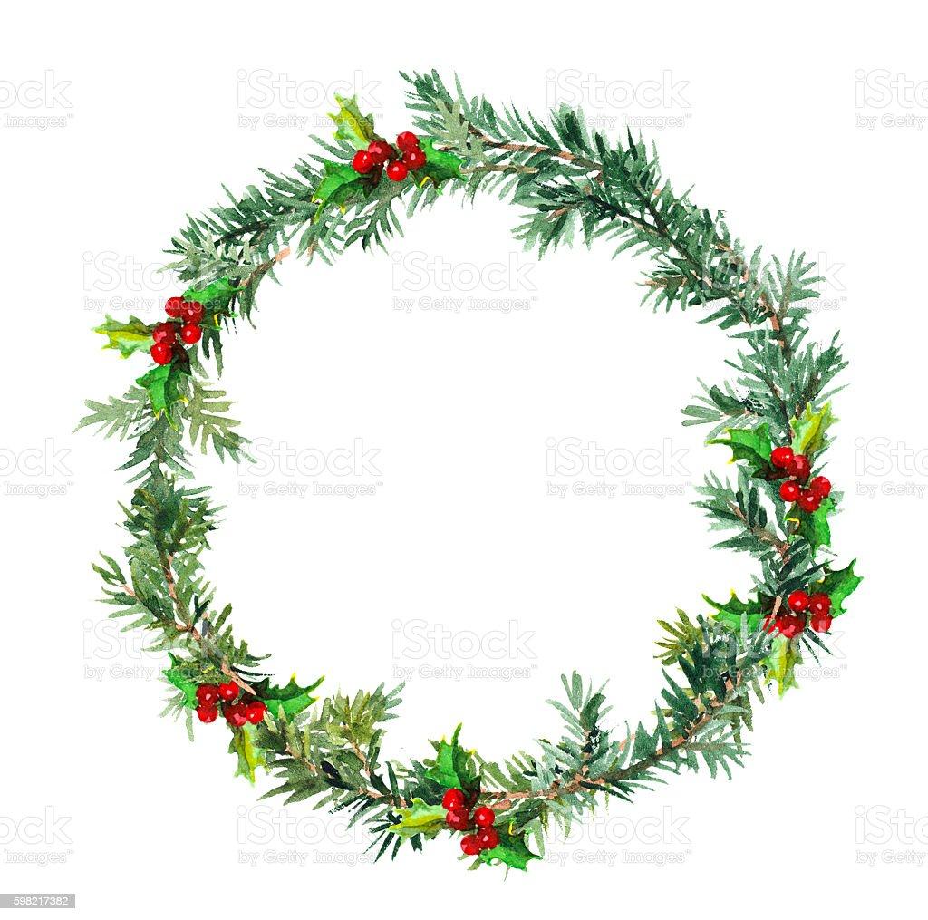 New year wreath - fir tree and mistletoe. Watercolor ilustração de new year wreath fir tree and mistletoe watercolor e mais banco de imagens de arte royalty-free