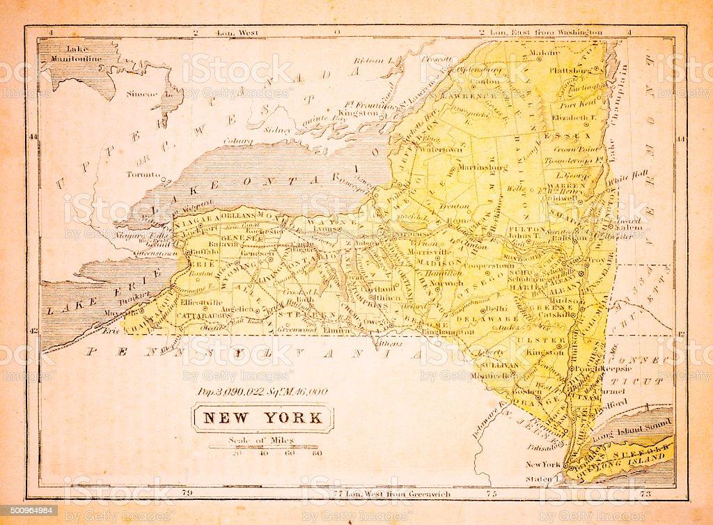 New York 1852 Map vector art illustration