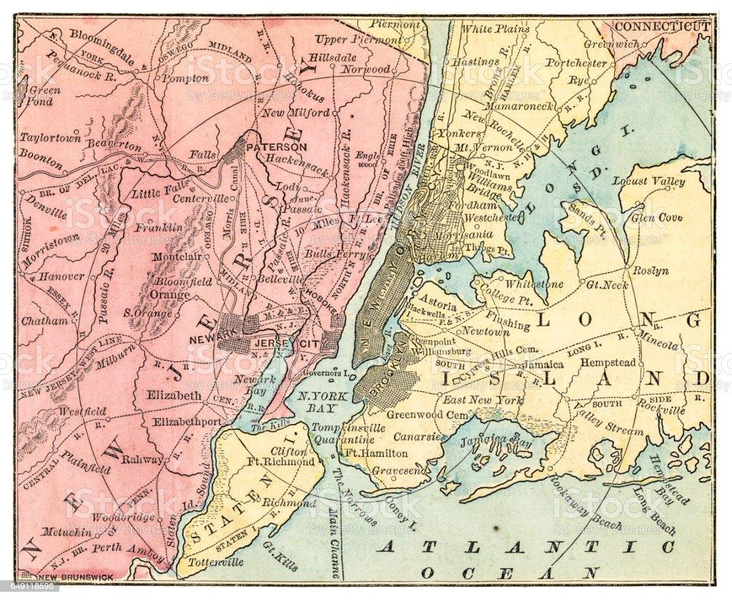 New York And Jersey Map 1875 Stock Vr Art und mehr Bilder von ... Map Of New York And Jersey on
