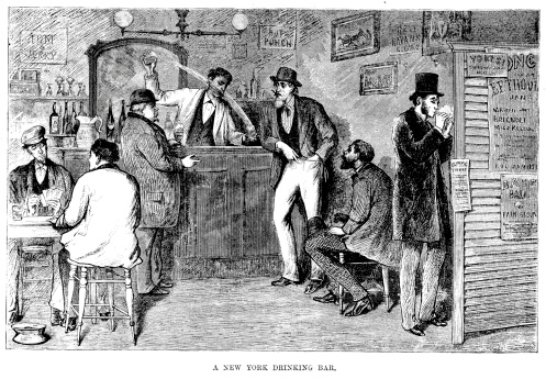 Vintage engraving of a New York drinking bar,  New York, USA. 1882