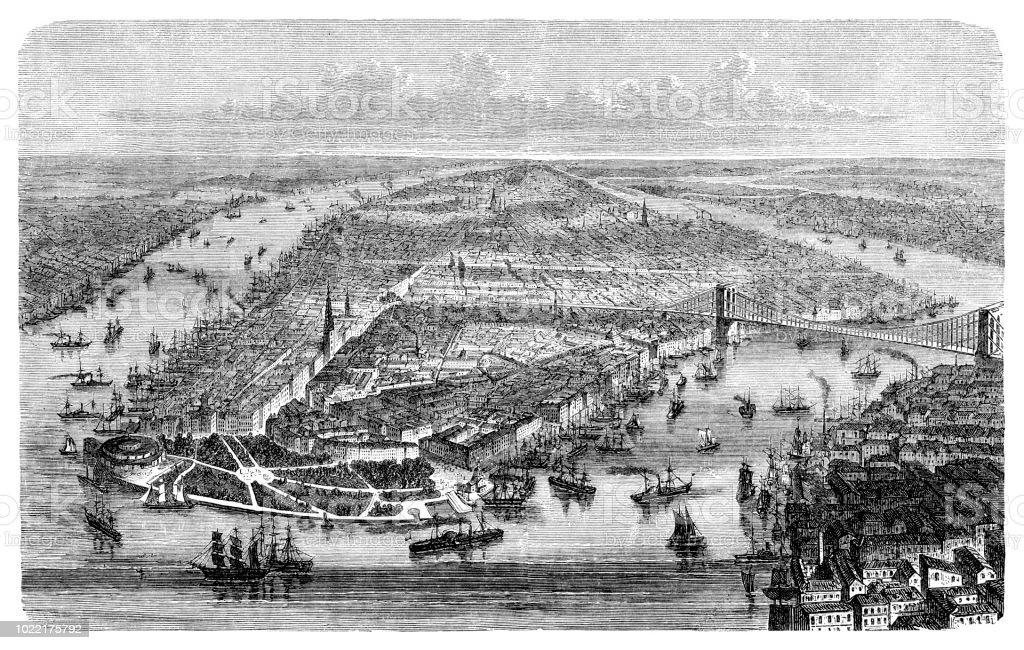 1876 ハドソン川マンハッタン ロングアイランドのニューヨーク市 ...
