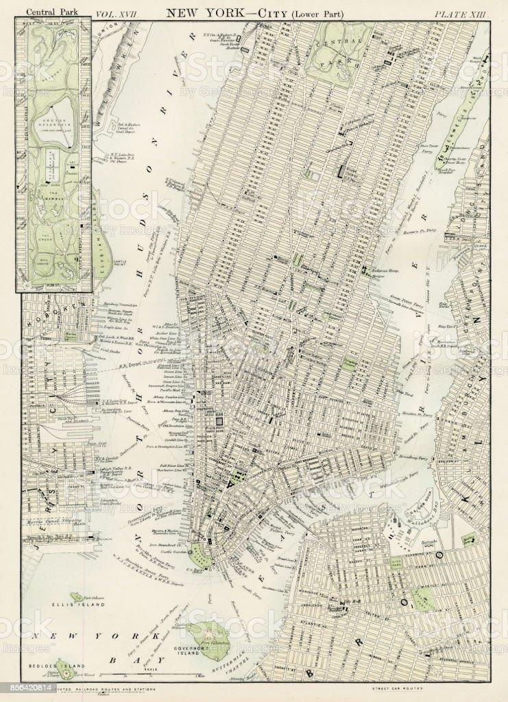 New York city map 1884 vector art illustration