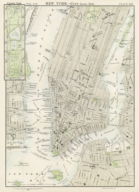 new york city map 1884 - new york map stock illustrations, clip art, cartoons, & icons