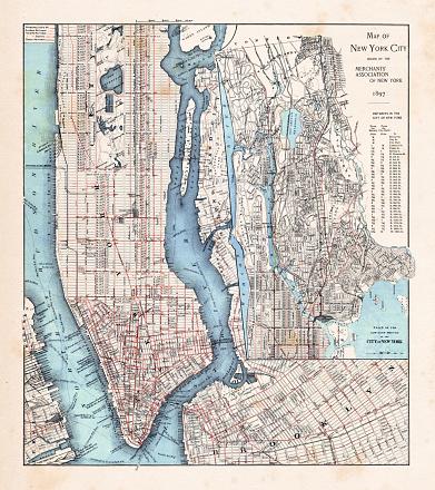 New York City Map with Manhattan 1897