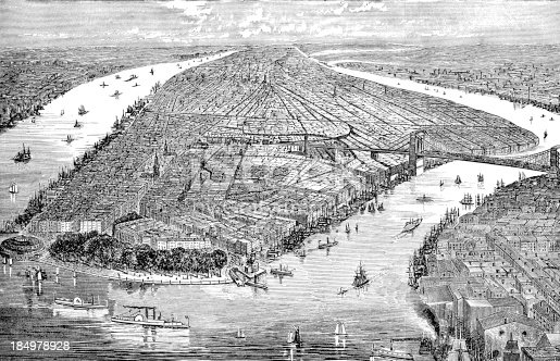 Engraving Of New York City From 1874 Showing The Bridge Connecting Brooklyn.