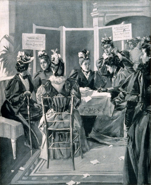 New York City Woman Suffrage Movement, 1894 Vintage illustration shows leaders in the women's suffrage movement in New York City securing signatures for petitions to be presented to the constitutional convention. women's suffrage stock illustrations