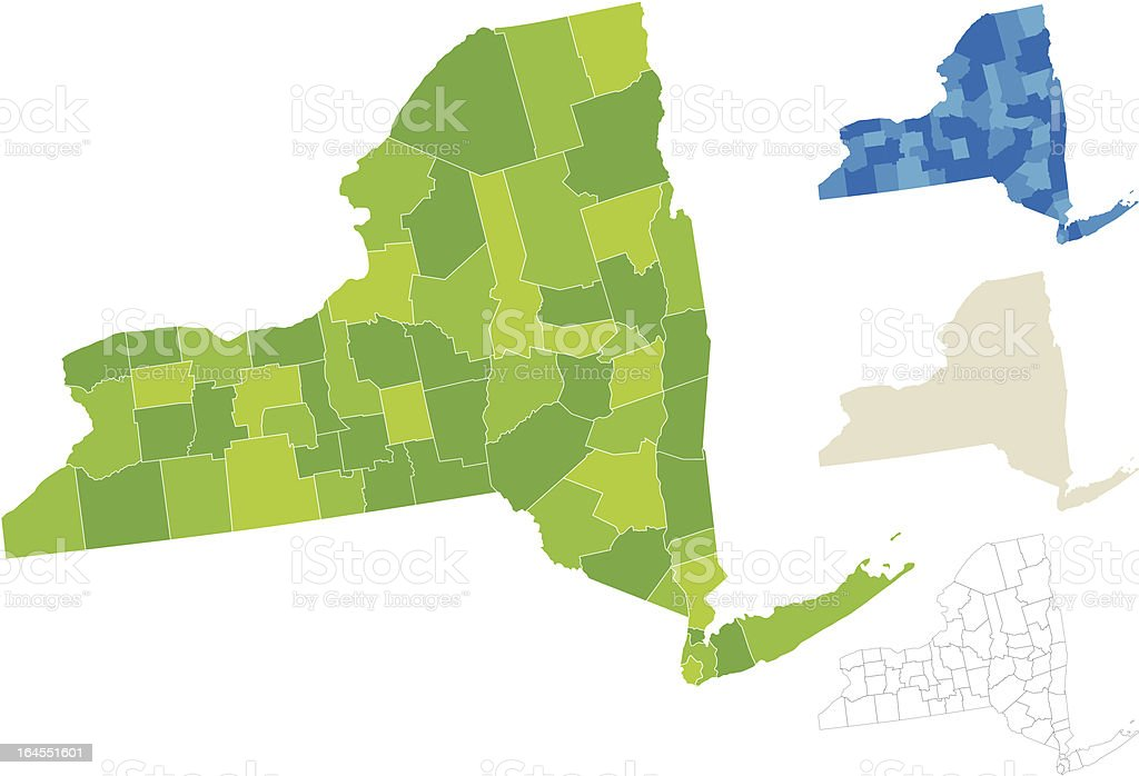 New York County Map vector art illustration