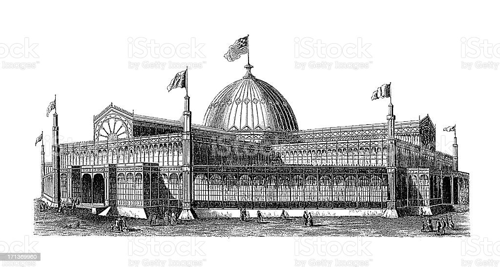 New York Crystal Palace, USA | Antique Architectural Illustrations vector art illustration