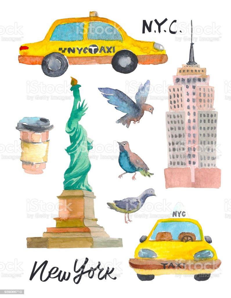 New York Doodle Set American Travel Symbols In Hand Drawn Sketch