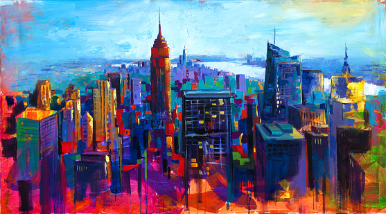 Colorful abstract acrylic painting a view over New York