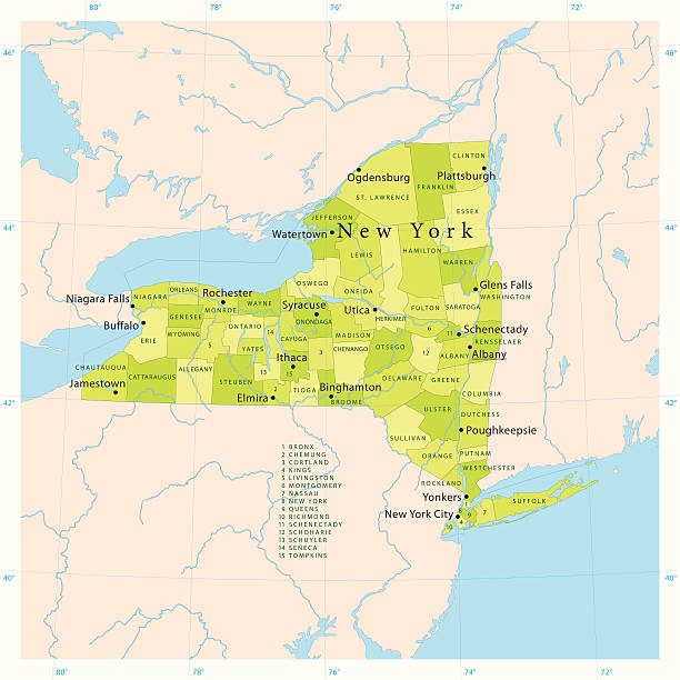 new york state vector map - new york map stock illustrations, clip art, cartoons, & icons