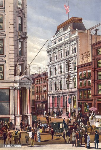 Vintage illustration features the New York Stock Exchange on Broad Street in 1882.
