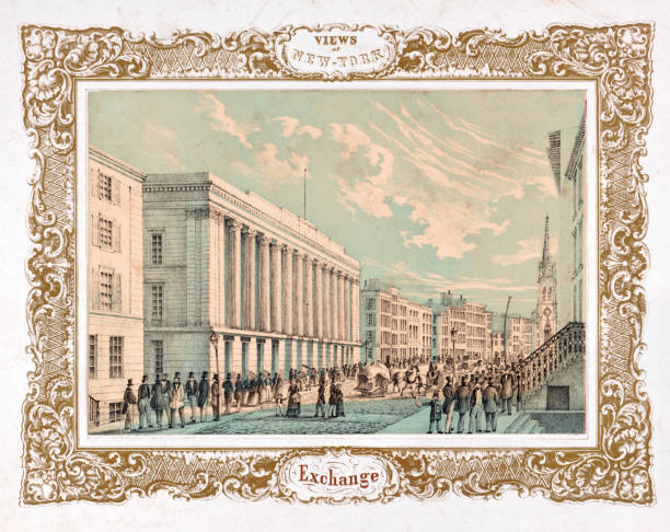New York Stock Exchange Vintage illustration of the New York Stock Exchange, circa 1850. wall street stock illustrations
