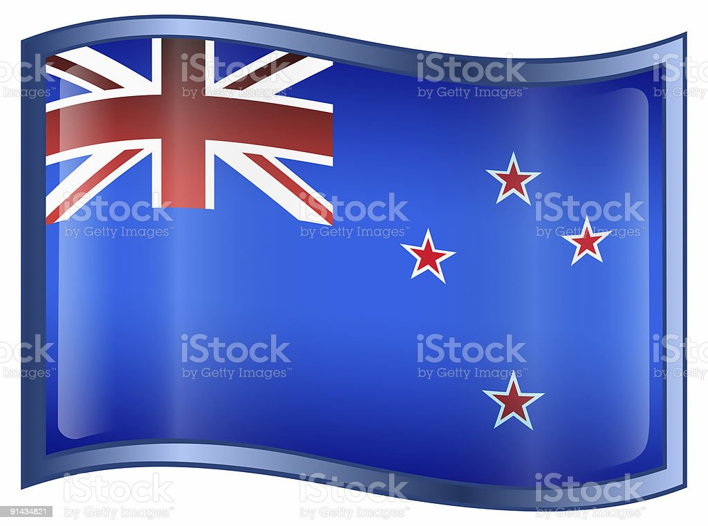 New Zealand Flag Icon, isolated on white background. royalty-free stock vector art