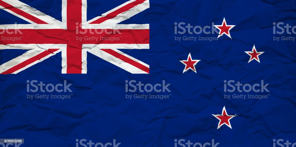New Zealand Flag On Crumbled Paper Sheet Stock Vector Art More