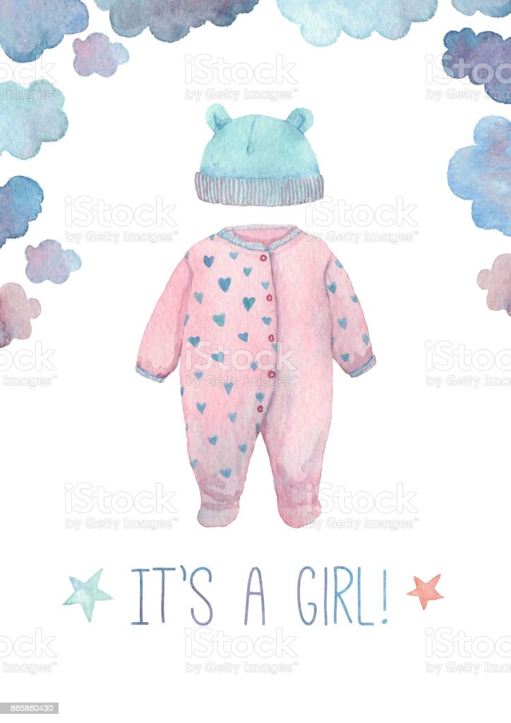 Newborn baby girl announcement card vector art illustration
