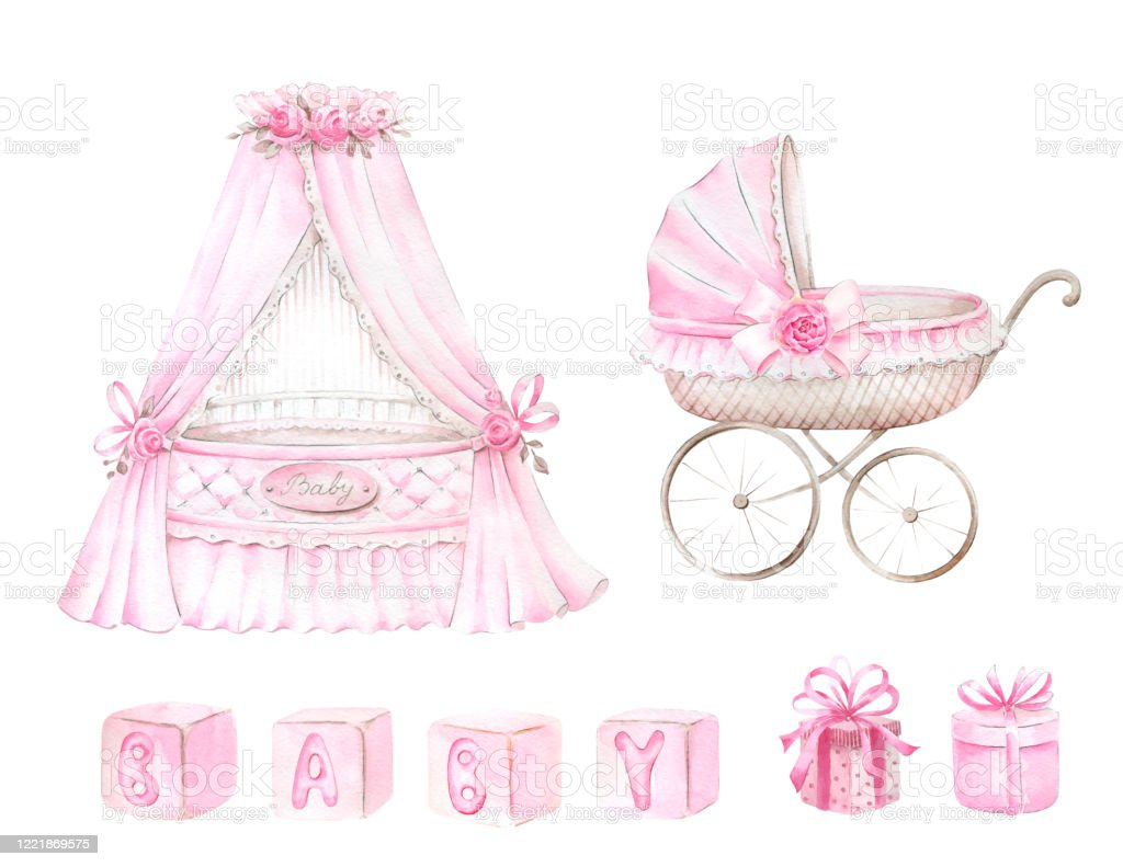 Newborn Baby Girl Clipart Set Stock Illustration Download Image Now Istock