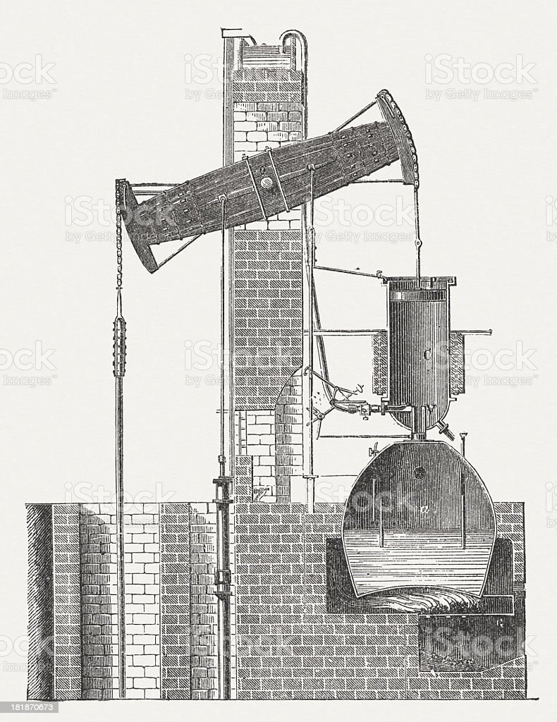 Newcomen steam engine for drainage of mines, 1712, published 1882 royalty-free stock vector art