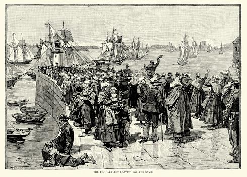 Newfoundland Cod Fishery - Fishing Fleet leaving for the Banks