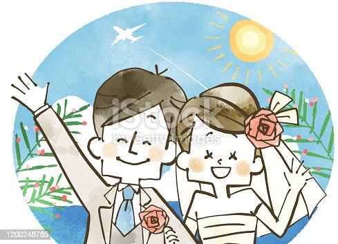 istock Newly married couple-Overseas wedding 1200248785