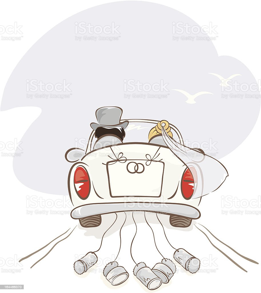 Newlyweds in a car vector art illustration