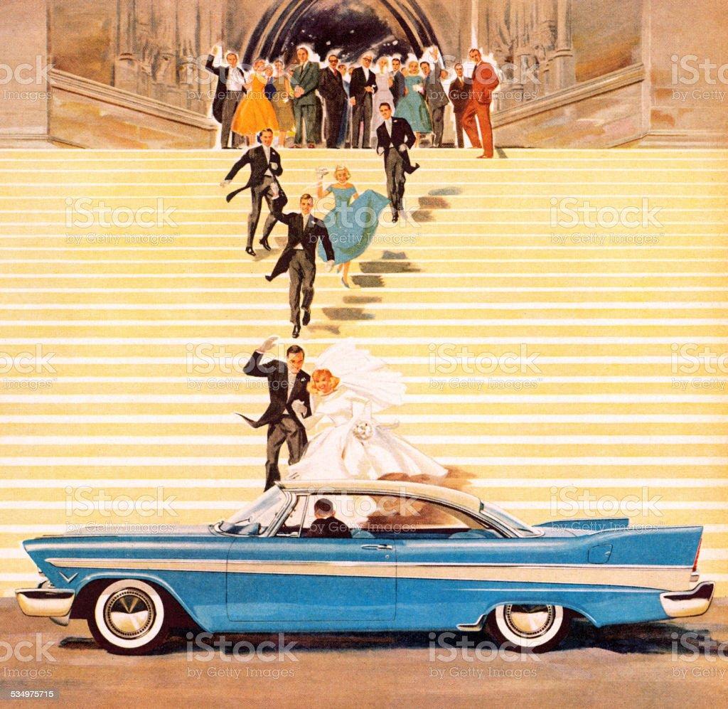 Newlyweds Leaving Church vector art illustration