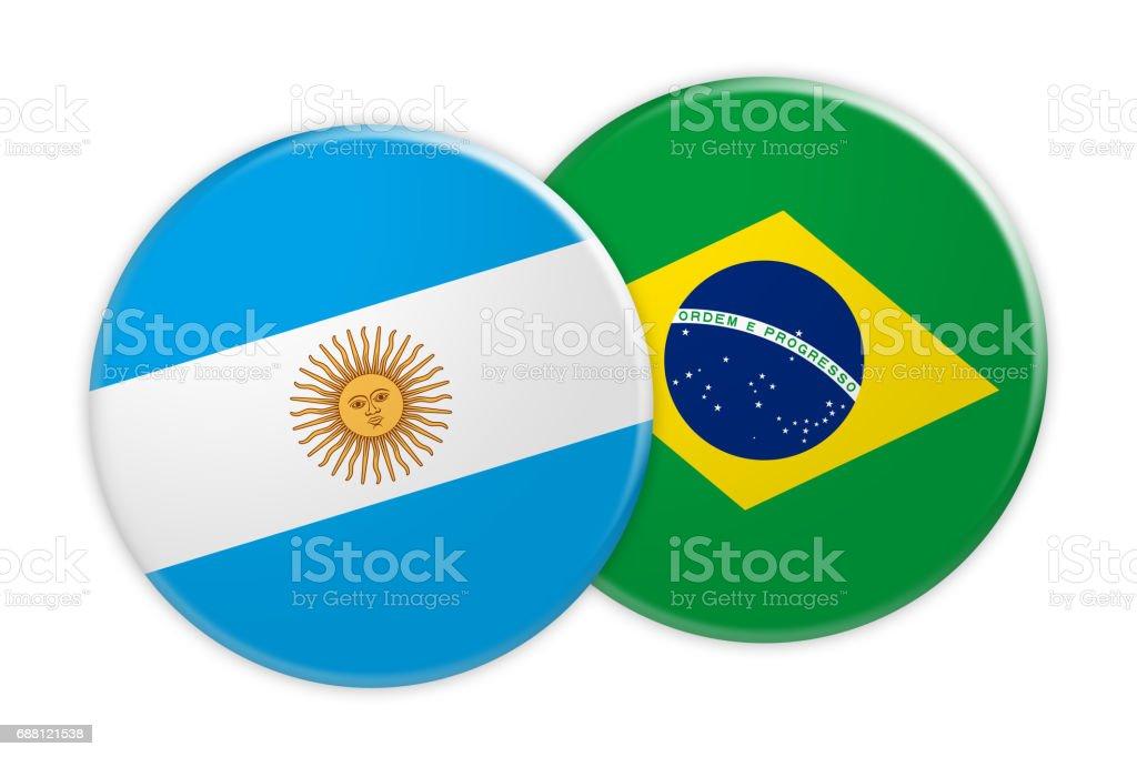 Noticias concepto: Argentina bandera de Brasil bandera botón, Ilustración 3d sobre fondo blanco - ilustración de arte vectorial