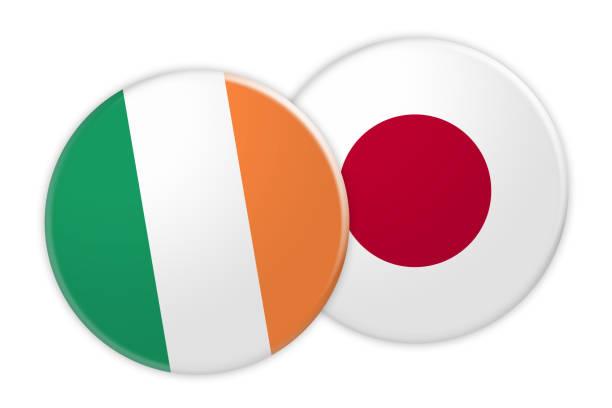 ニュース概念: アイルランド フラグに日本国旗ボタン、白い背景の 3 d 図 - アイルランドの国旗点のイラスト素材/クリップアート素材/マンガ素材/アイコン素材