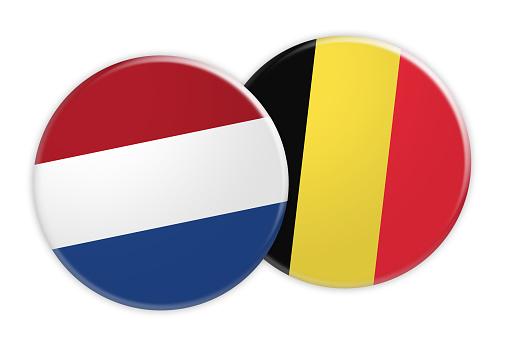 Nieuwsconcept Nederlandse Vlag Knop Op België Knop Markeren 3d Illustratie Op Witte Achtergrond Stockvectorkunst en meer beelden van Badge - iStock