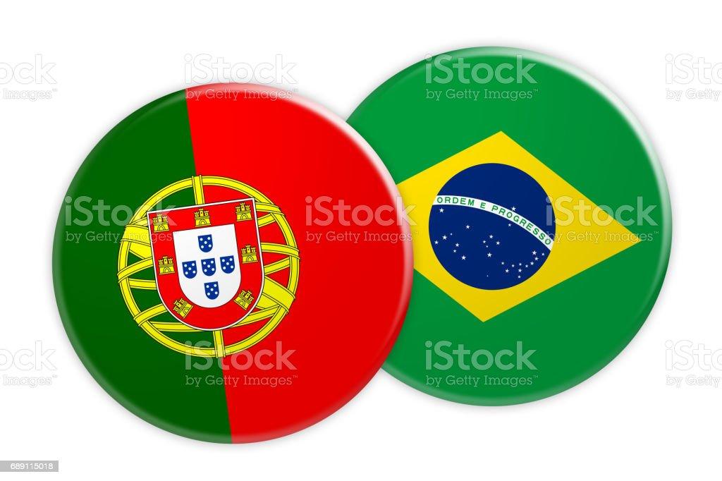 News Concept: Portugal Flag Button On Brazil Flag Button, 3d illustration on white background - ilustração de arte vetorial