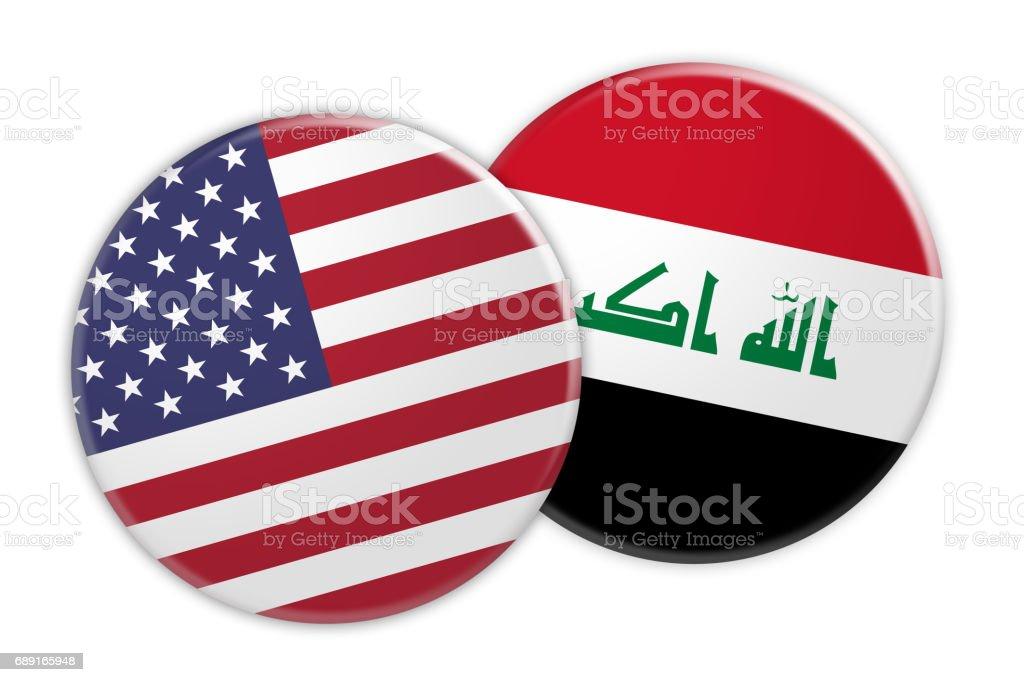 US News Concept: USA Flag Button On Iraq Flag Button, 3d illustration on white background vector art illustration