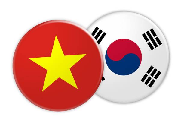 ilustrações, clipart, desenhos animados e ícones de conceito de notícia: vietnam bandeira na coreia do sul bandeira botão, ilustração 3d em fundo branco - bandeira da coreia