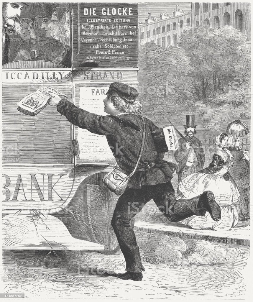 Newspaper boy during the Victorian Era, wood engraving, published 1864 royalty-free stock vector art