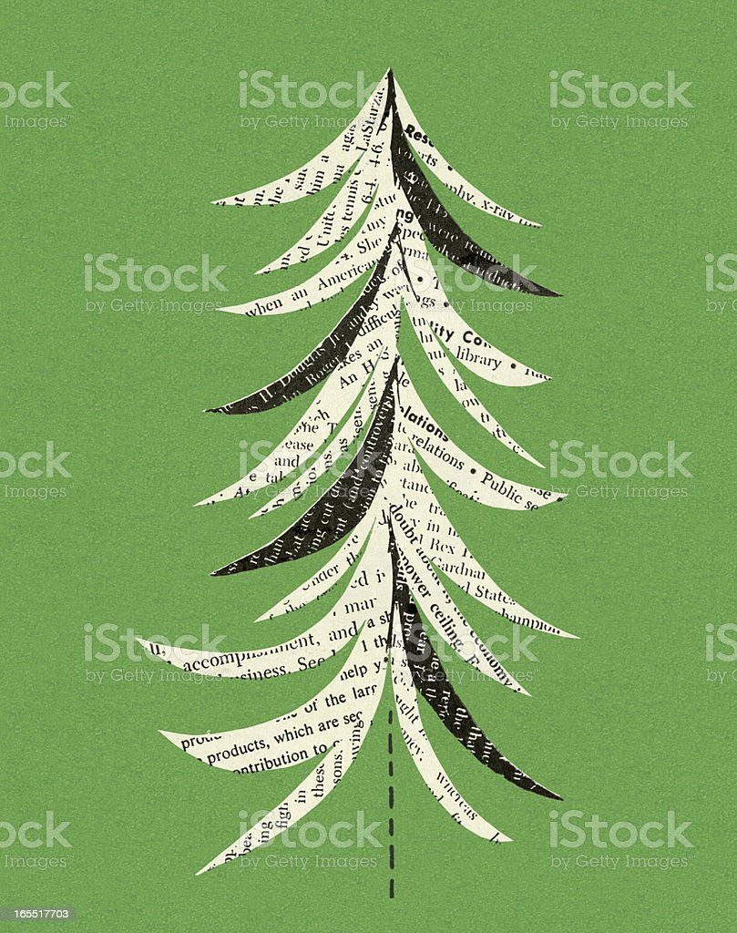 Newspaper Christmas Tree royalty-free stock vector art