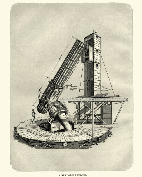 newtonian telescope (reflector), 1870 - astronomy telescope stock illustrations