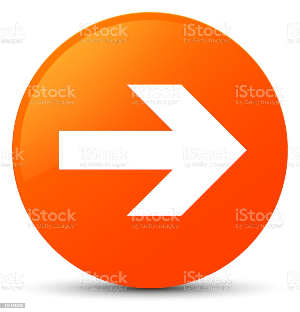 Next arrow icon orange round button vector art illustration