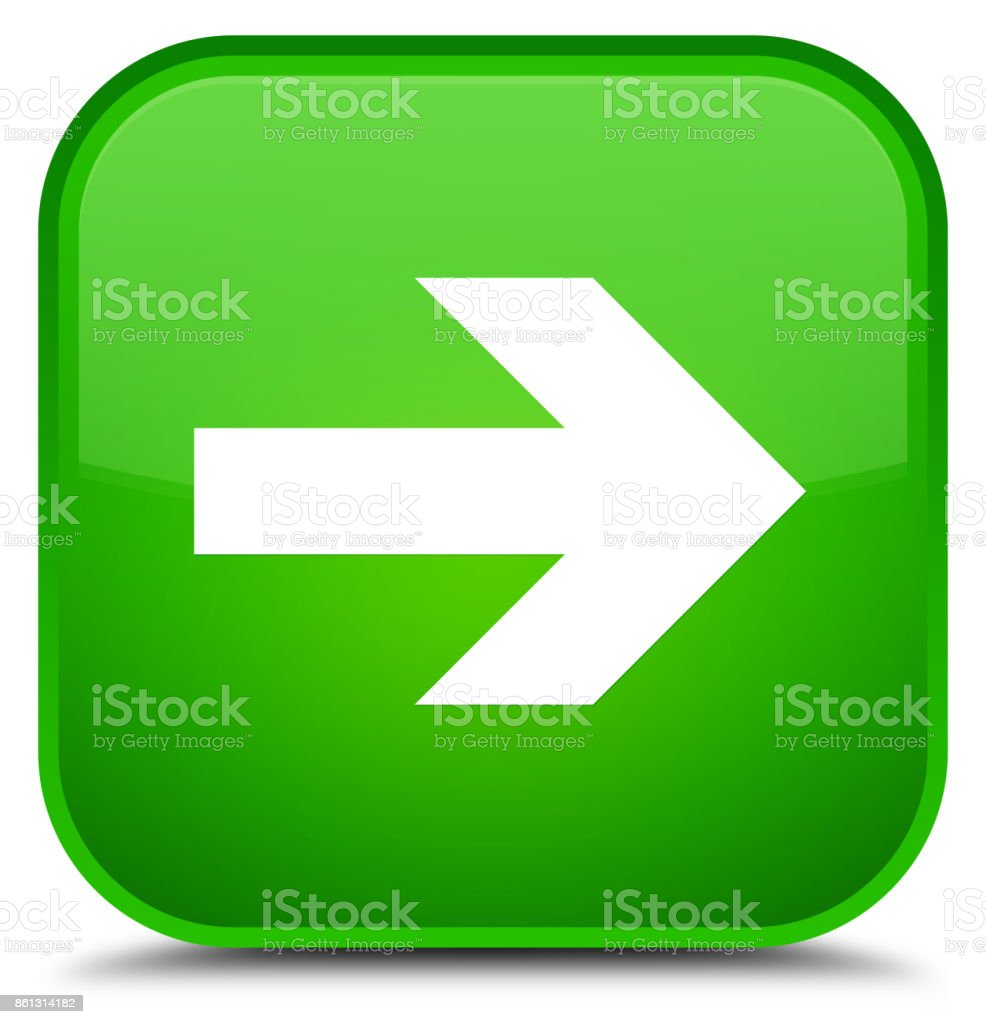 Next arrow icon special green square button vector art illustration