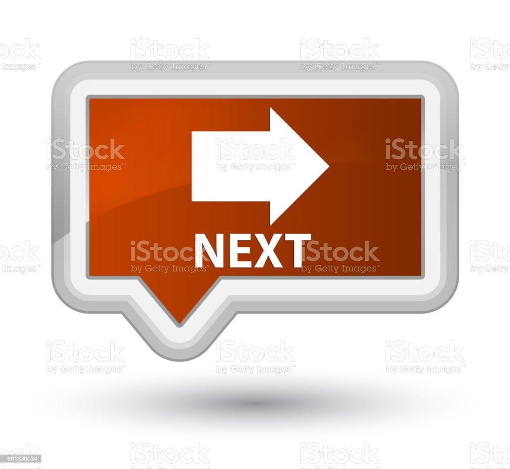 Next prime brown banner button vector art illustration