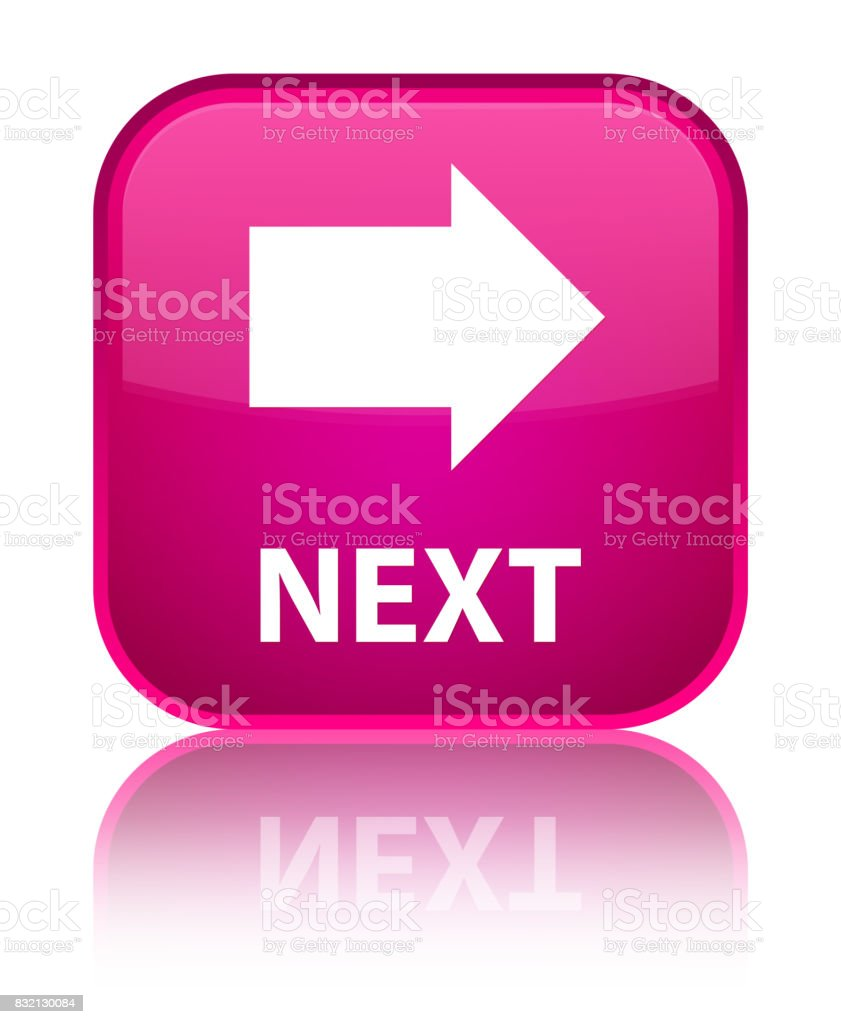 Next special pink square button vector art illustration