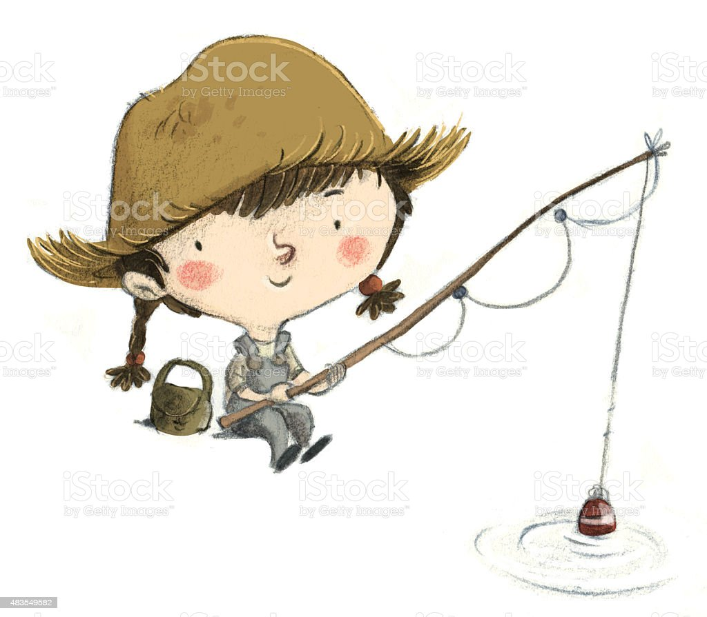 Niña pescando peces - ilustração de arte em vetor