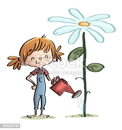 istock niña regando una flor gigante 494005784