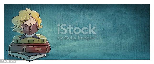 istock niña sentada sobre libros 482851502