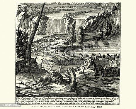 Vintage engraving of Niagara and Beaver Dams, early 18th Century