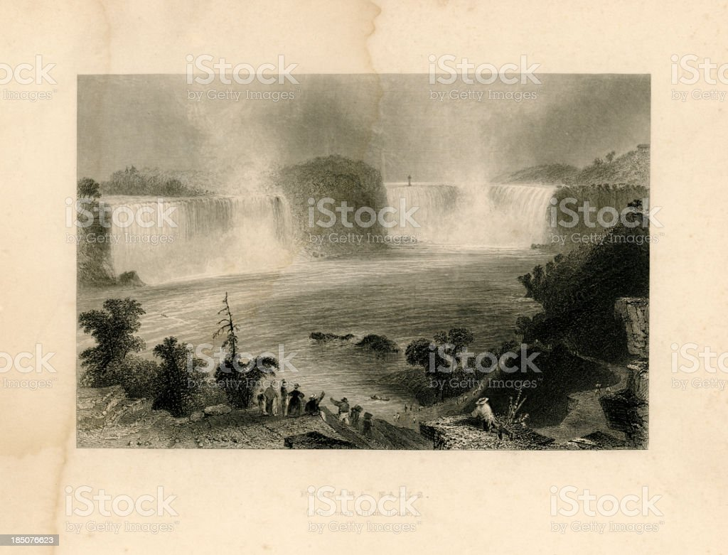 Niagara Falls from near Clifton House (Geo Virtue 1839) vector art illustration