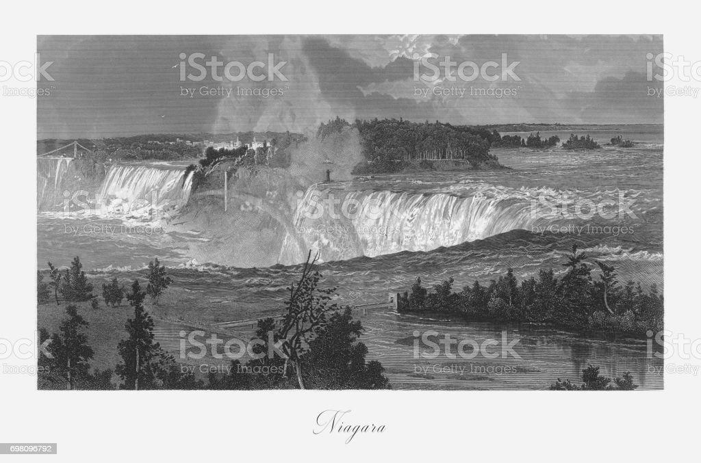 Niagara Falls, Niagara Falls, New York, Niagara Falls, Ontario, American Victorian Engraving, 1872 vector art illustration