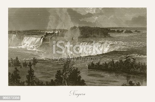 Very Rare, Beautifully Illustrated Antique Engraving of Niagara Falls, Niagara Falls, New York, Niagara Falls, Ontario, American Victorian Engraving, 1872. Source: Original edition from my own archives. Copyright has expired on this artwork. Digitally restored.