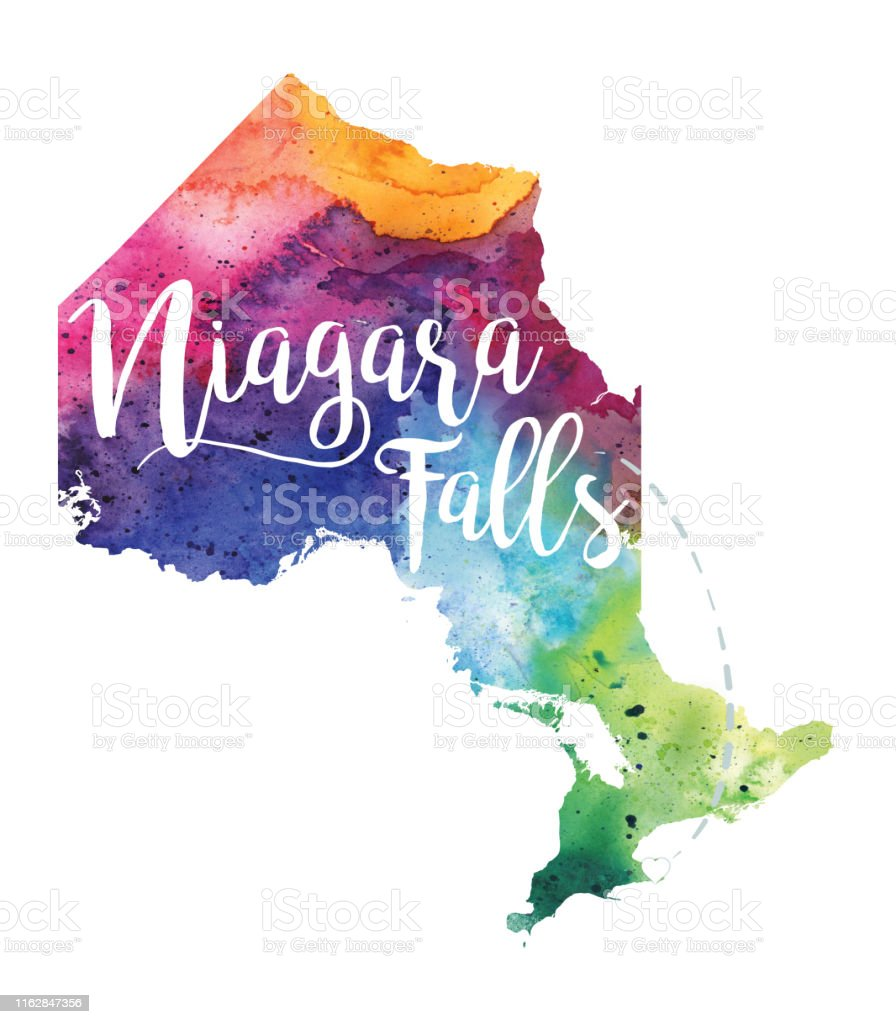 Niagara Falls Ontario Watercolor Raster Map Illustration