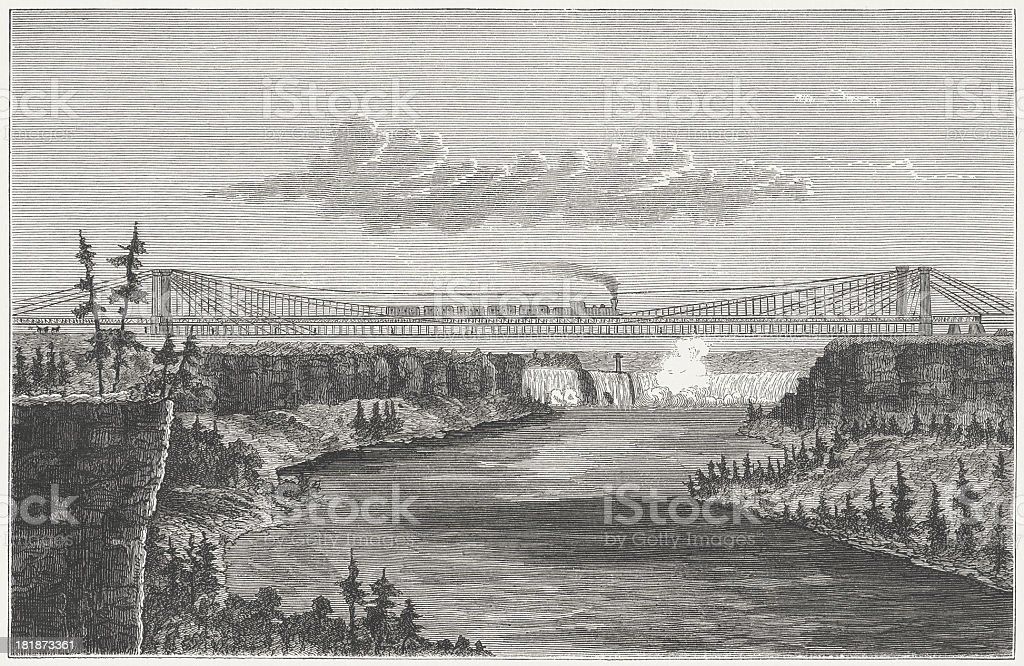 Niagara Falls Suspension Bridge, built 1851-1855, wood engraving, published 1872 royalty-free stock vector art