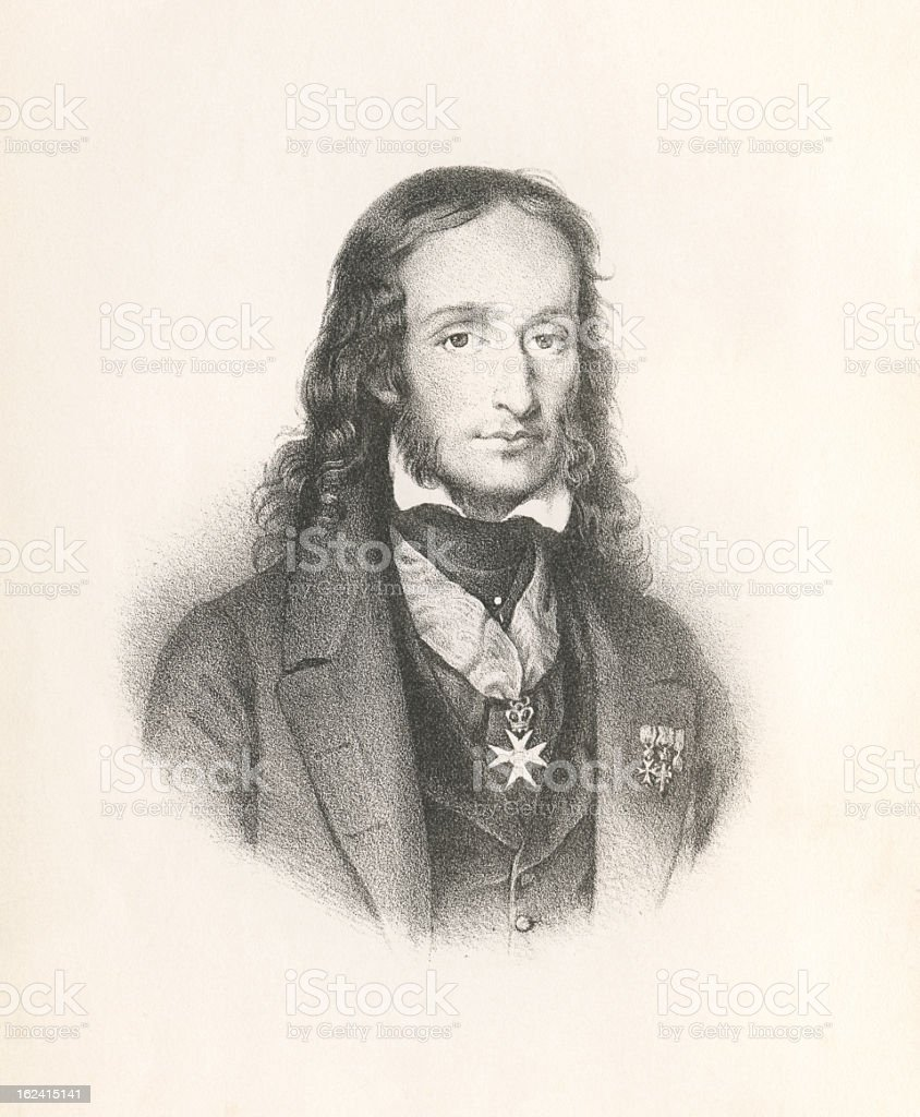 Niccolò Paganini - Antique Engraved Portrait royalty-free niccolò paganini antique engraved portrait stock vector art & more images of awe